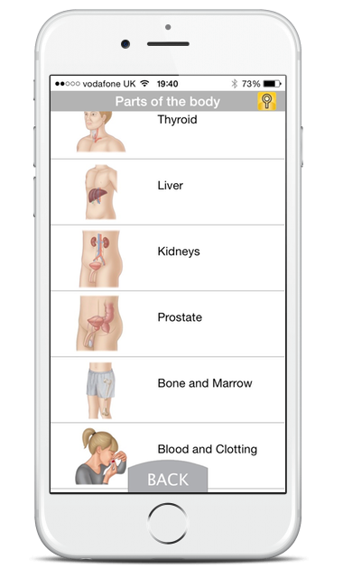 Mobile screenshot listing parts of the body with illustrated diagrams.