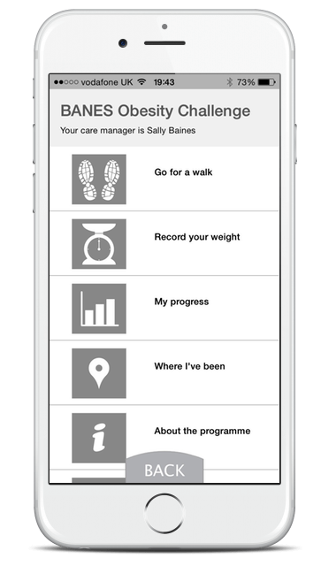 Mobile app view of BANES Obesity Challenge menu screen