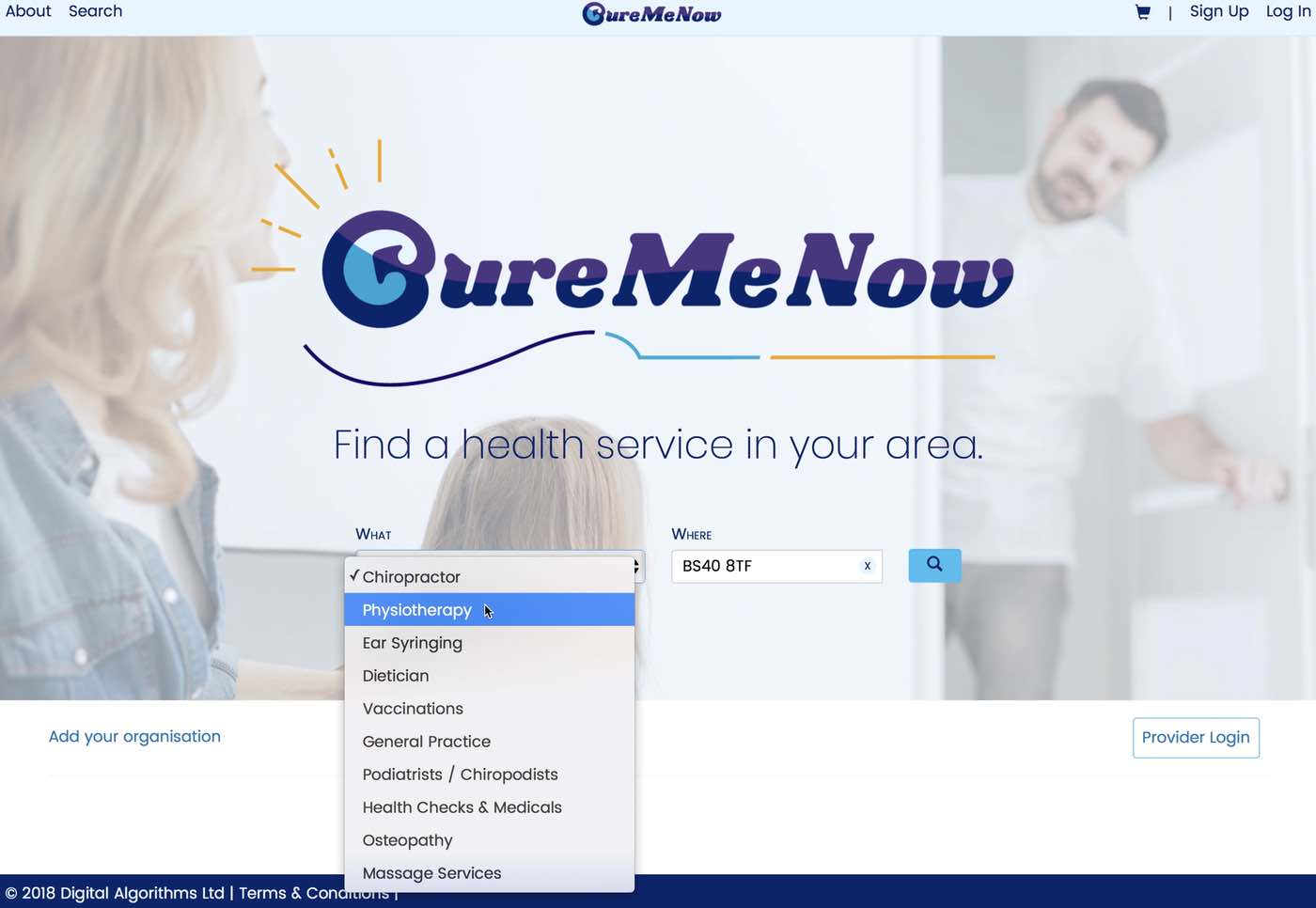 Cure Me Now homepage with options
